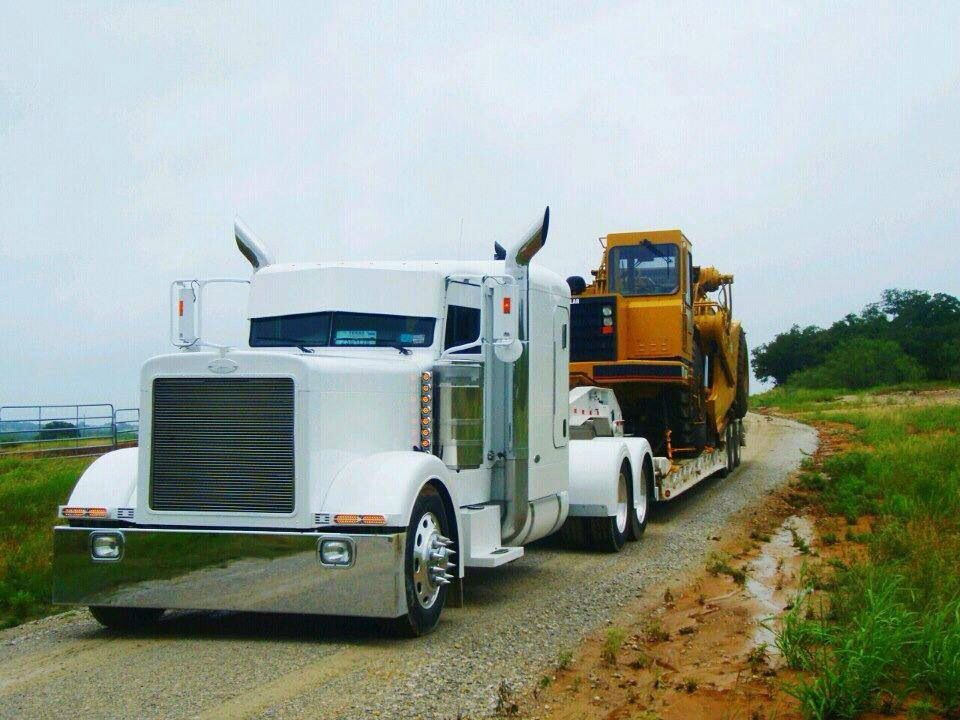 White Peterbilt heavy hauler
