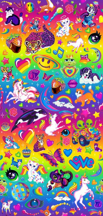 Repeat Lisa Frank Pattern I Made Took Forever Free To Use As Usual Lisa Frank Stickers Lisa Frank Wallpaper