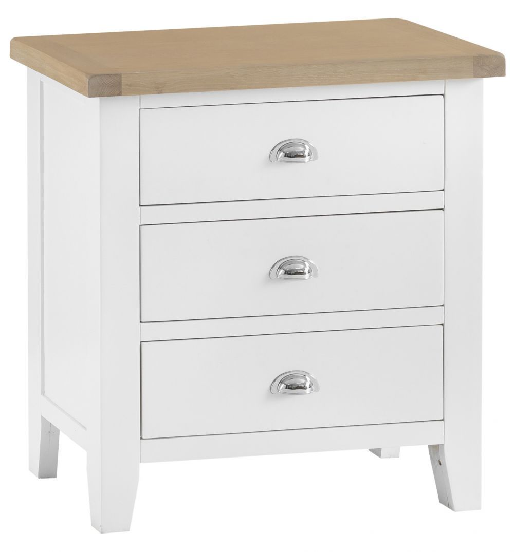 Suffolk White Painted Oak 3 Drawer Chest Chest Of Drawers Bedroom Furniture 3 Drawer Chest Farmhouse Style Furniture White Paints