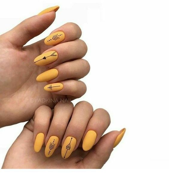 Nice Yellow Gel Nails With Black Details Yellow Nails Yellow Nails Design Minimalist Nails