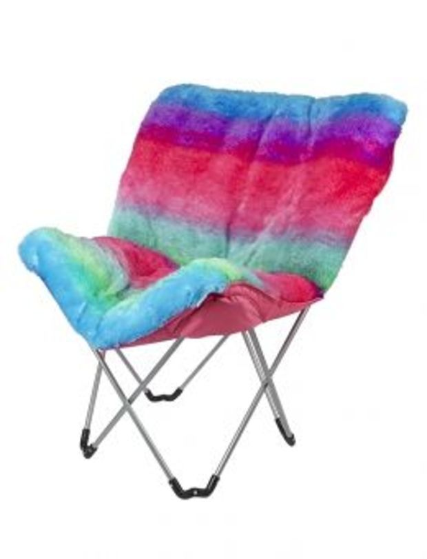 Prime Rainbow Faux Fur Butterfly Chair Girls Clearance Beauty Theyellowbook Wood Chair Design Ideas Theyellowbookinfo