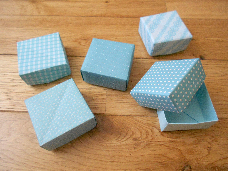 Boite Emballage Rangement 5 Cadeau Petite Origami Papier Bleu