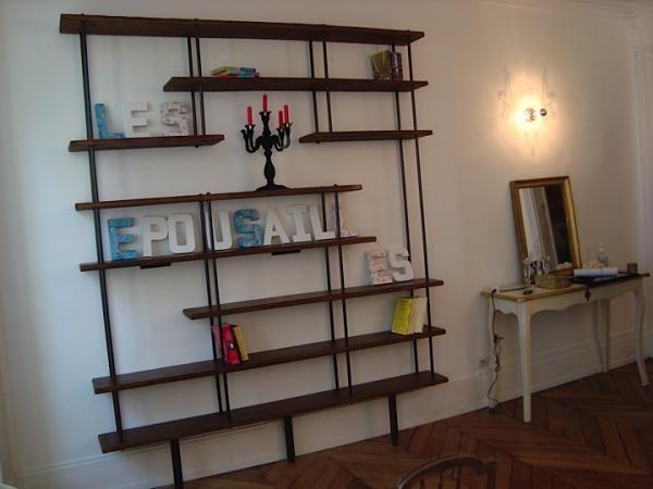 etag re murale biblioth que bois et m tal sur mesure etageres pinterest tag res murale. Black Bedroom Furniture Sets. Home Design Ideas