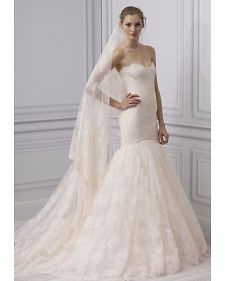 New wedding dresses by Monique Lhuillier from the designer's Spring 2013 bridal runway collection.
