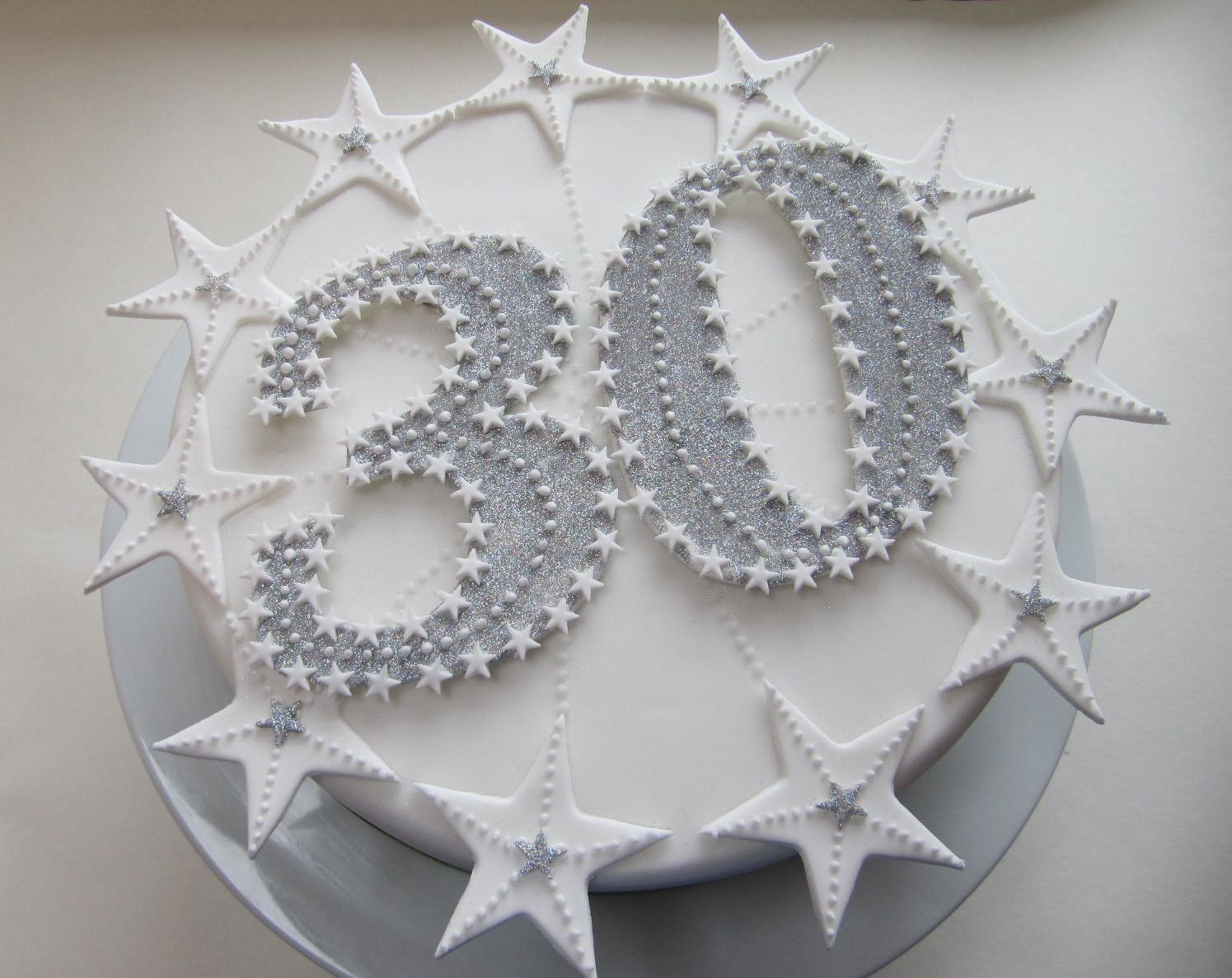 Starry and sparkly 30th Birthday cake