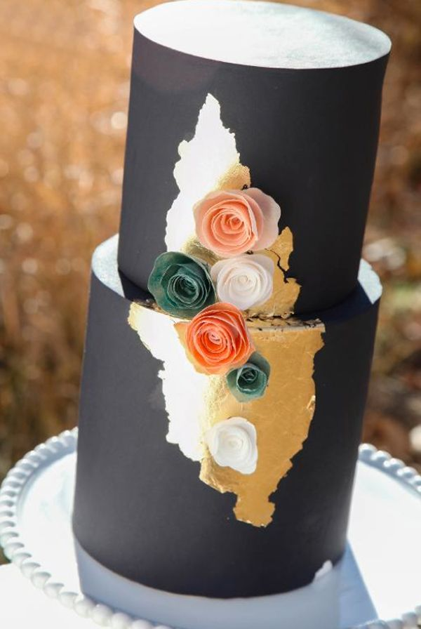 Tiered Black Cake with Wafer Paper Flower gorgeous! love that gold treatment!