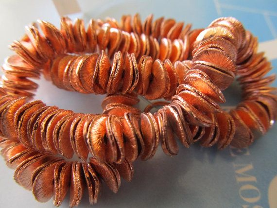 10mm Wavy Brushed Copper Disc, Thin Wavy Copper Washer
