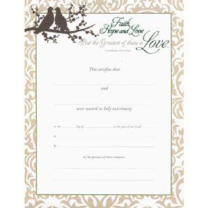 Marriage Certificate  Greatest Love  WeddingdepotCom