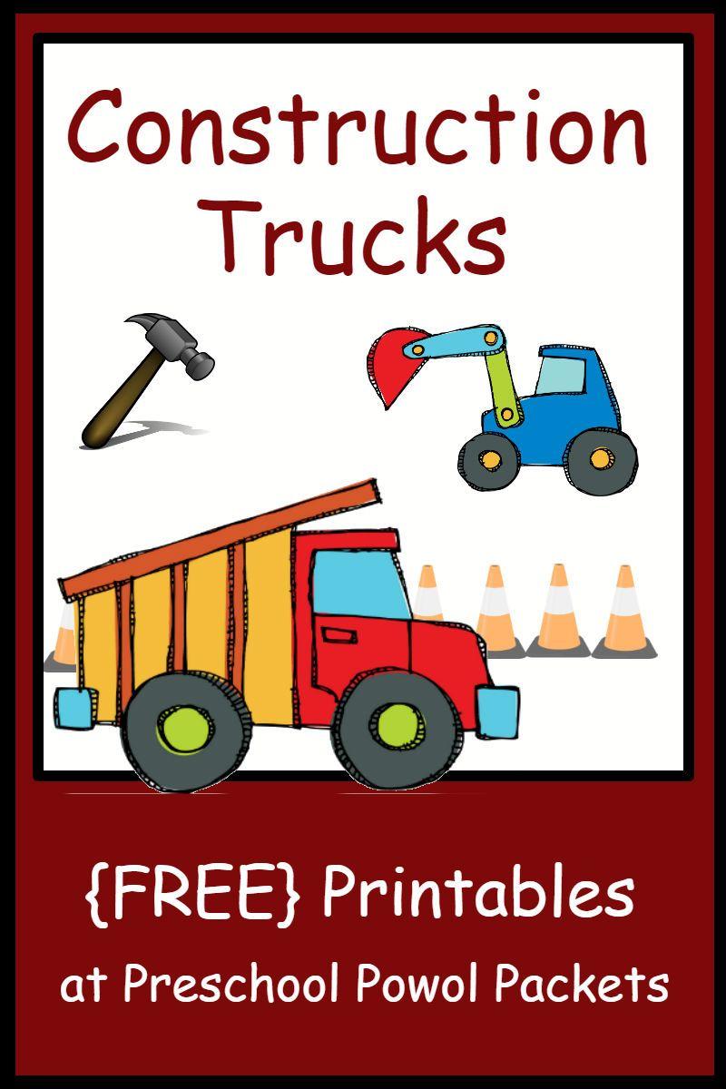 {FREE} Construction Theme Preschool Printables