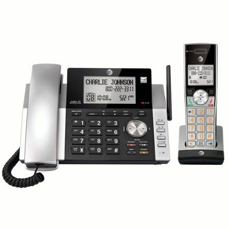 At T Cl84115 Dect 6 0 Expandable Cordless Phone With Answering System And Caller Id Silver Black With 1 Handset Phone Caller Id Cool Things To Buy
