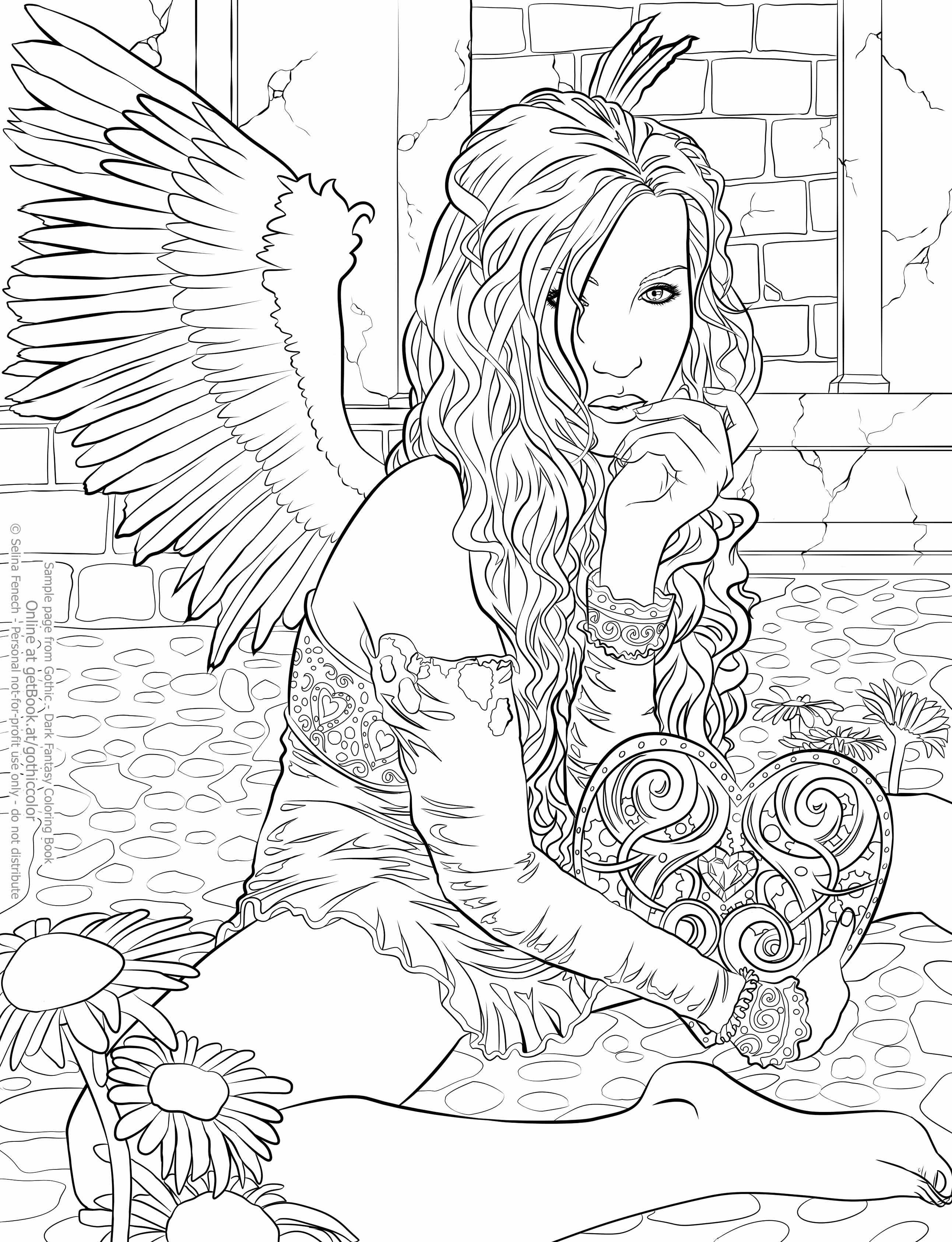 Selinafenech Gothiccoloringbook Clockworkheart Kleurboek Kleurplaten Engel Tekening