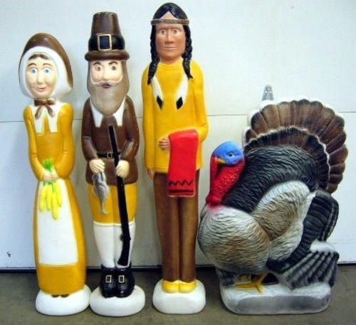 Thanksgiving Union Blow Mold Set - 2 Pilgrims, Indian, Turkey, Don Featherstone