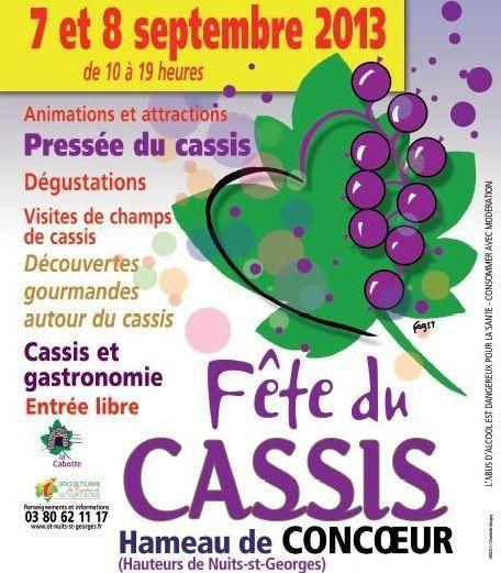Fête du cassis au hameau de Concoeur. Du 7 au 8 septembre 2013 à Concoeur.