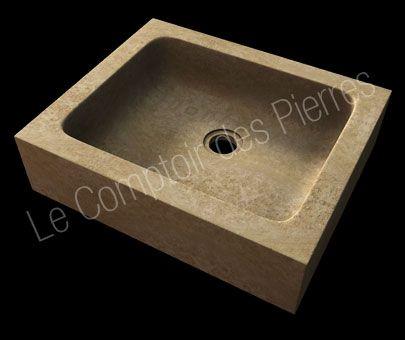 Evier Borie en pierre de Bourgogne ambré vieilli Cuisine en pierre - decoupe plan de travail pour evier