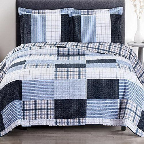 Cottage Coverlet Quilt Shams Set Single Twin Twin Xl Size Navy Blue White Plaid Stripe Pattern Lightweight Rev Nautical Bedding Sets Boys Bedding Quilt Bedding