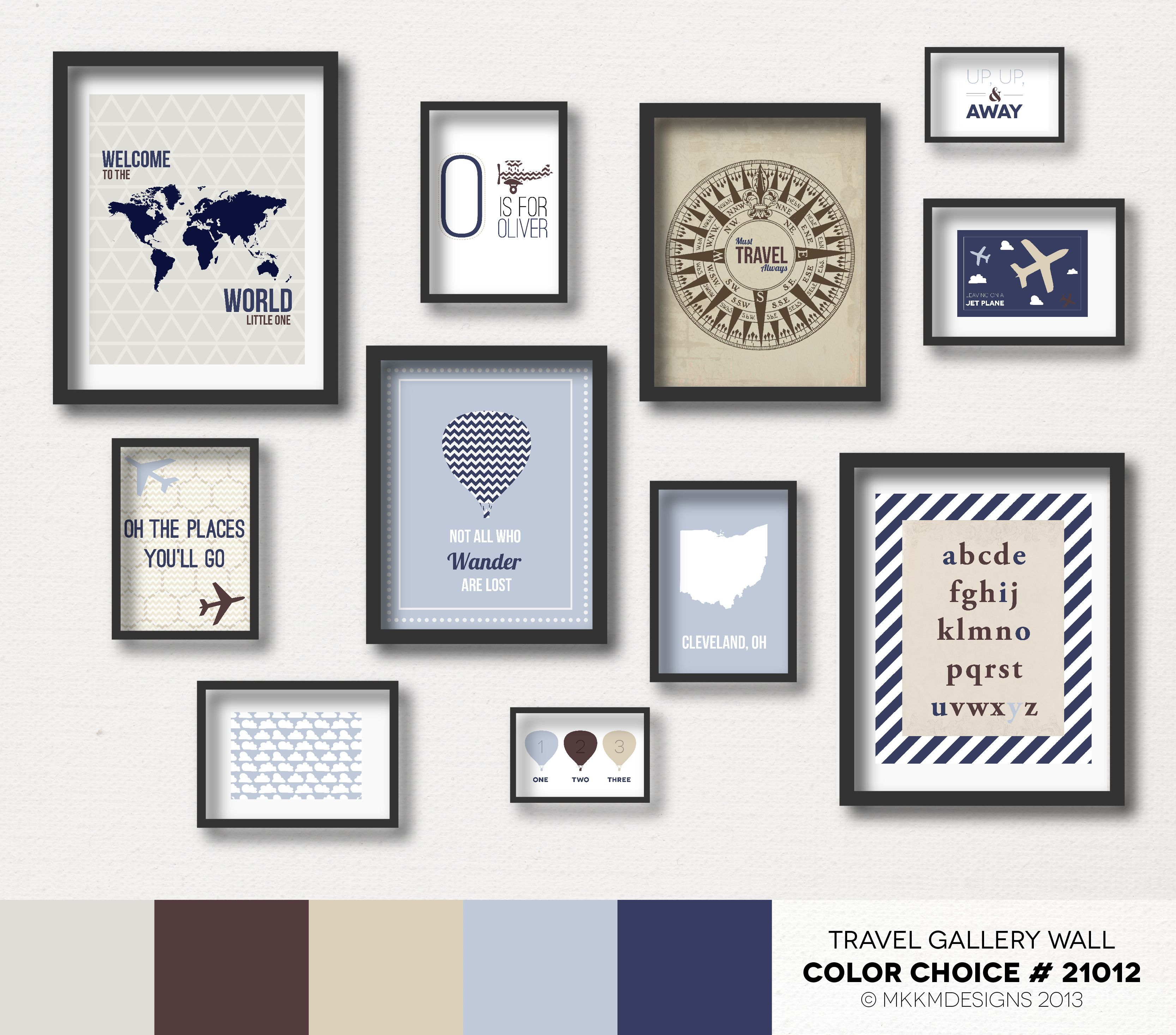 Color of art gallery walls - Travel Nursery Gallery Wall Color Choice 21012 Neutrals Blues And Browns
