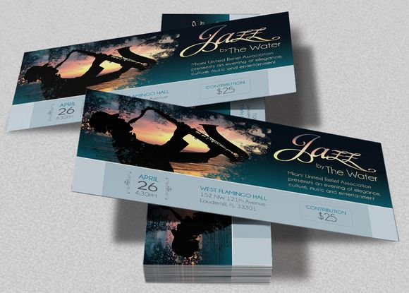 Jazz Concert Event Ticket Template by Godserv Marketplace on - banquet ticket template