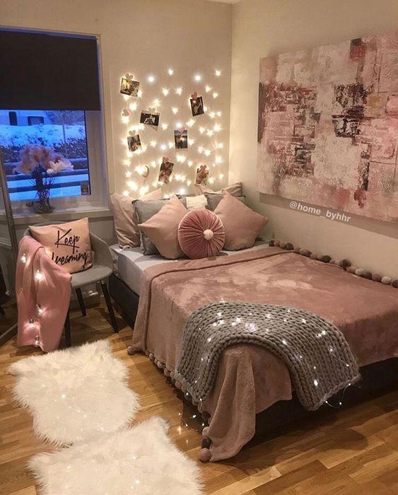 Pink White And Grey Girl S Bedroom Pastel Bedroom Decor Inspiration Small Bedroom Ideas Decoracao Quarto Pequeno Decoracao Do Dormitorio Decoracao De Quarto