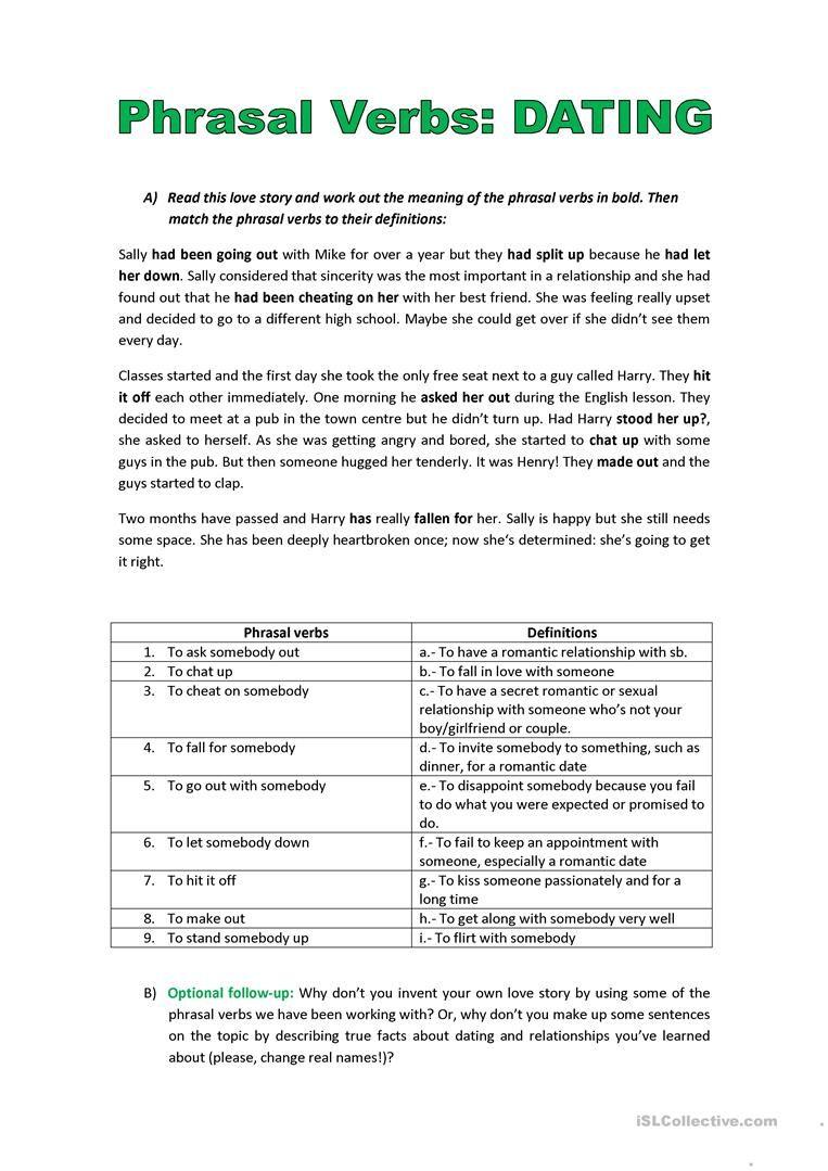 Phrasal Verbs And Dating Worksheet Free Esl Printable Worksheets Made By Teachers Marketing Jobs Verb English Short Stories [ 1079 x 763 Pixel ]