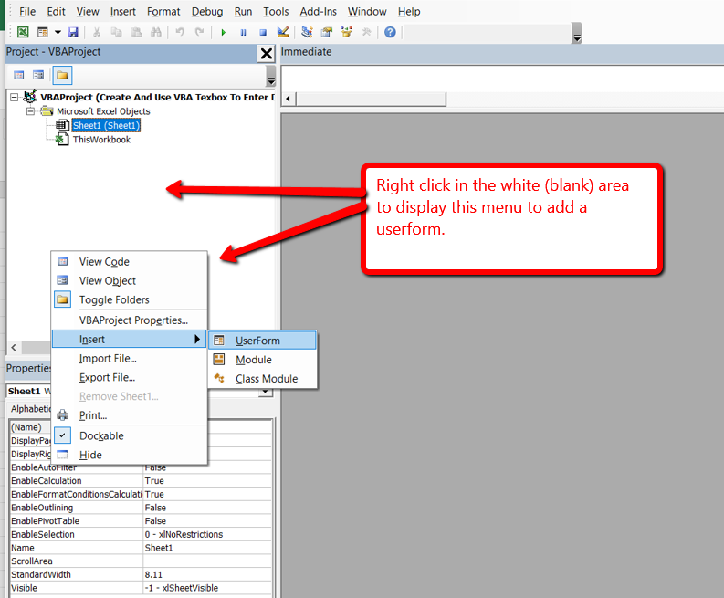 Create And Use VBA Texbox To Enter Data With UserForm