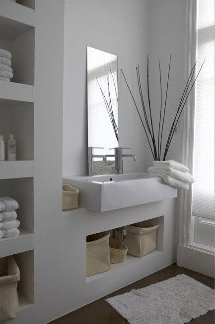 White bathroom with storage design Pinterest Bathroom, Modern
