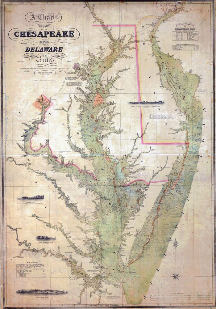 1840 Nautical Chart Map of the Chesapeake and Delaware Bays Maryland ...