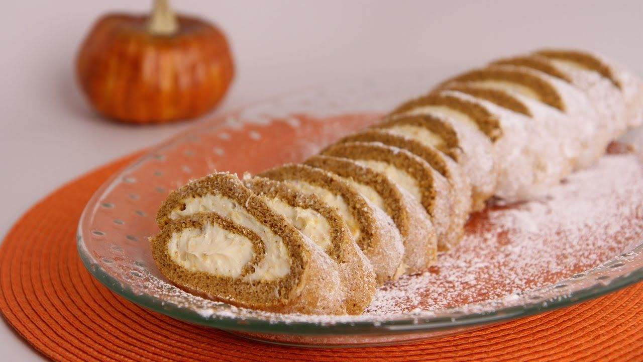 Pumpkin Cake Roll Recipe Laura Vitale Laura In The Kitchen