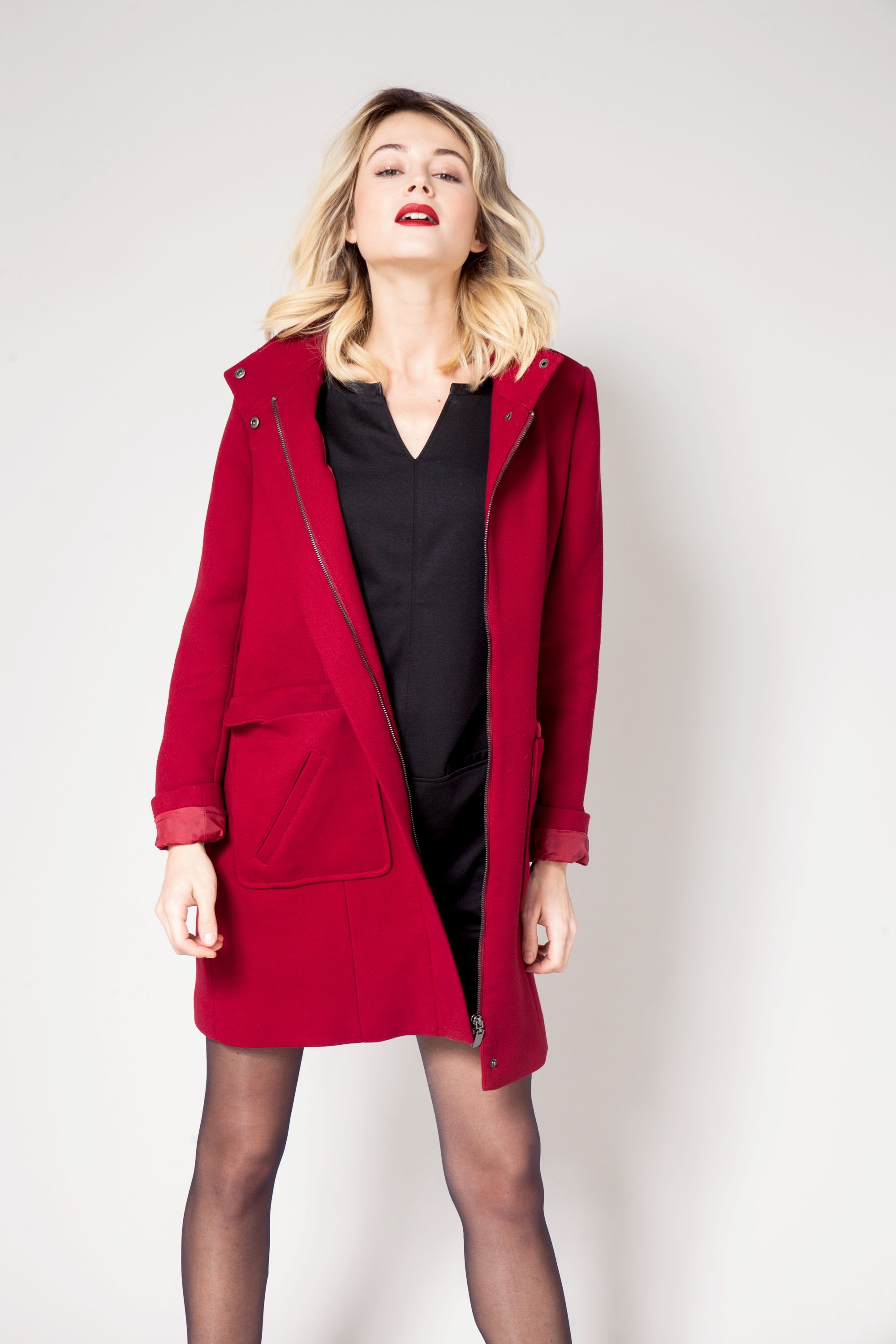 2bb4e4a1169a5 Manteau long col montant rouge CAMAÏEU 2016   Czerwony   Winter ...