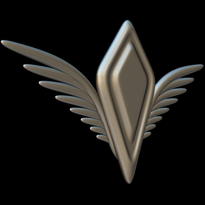 3d model wings crest wingsshieldcrestsymbolawardlogo