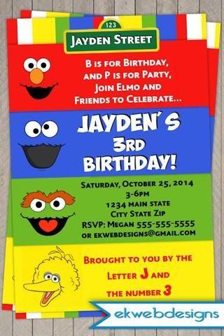 Sesame Street First Birthday Party Invitations