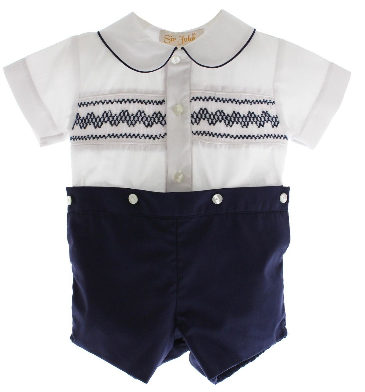Boys Hand Smocked Special Occasion Christening//Baptism Bobbie Suit Ivory