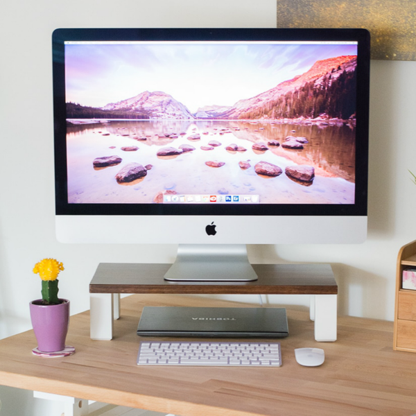 5 Ways To Organize A Desk Without Drawers Monitor Stand Easy Diy Diy Furniture Cheap