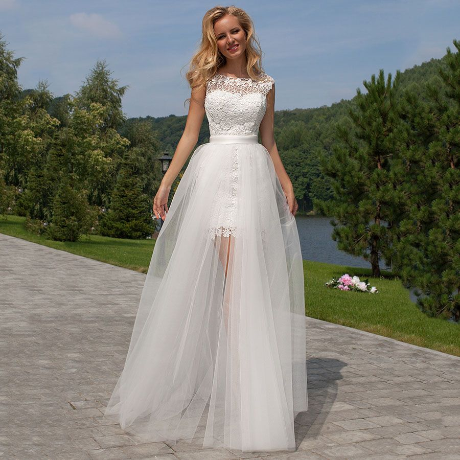 High neck wedding dresses with detachable skirts funky