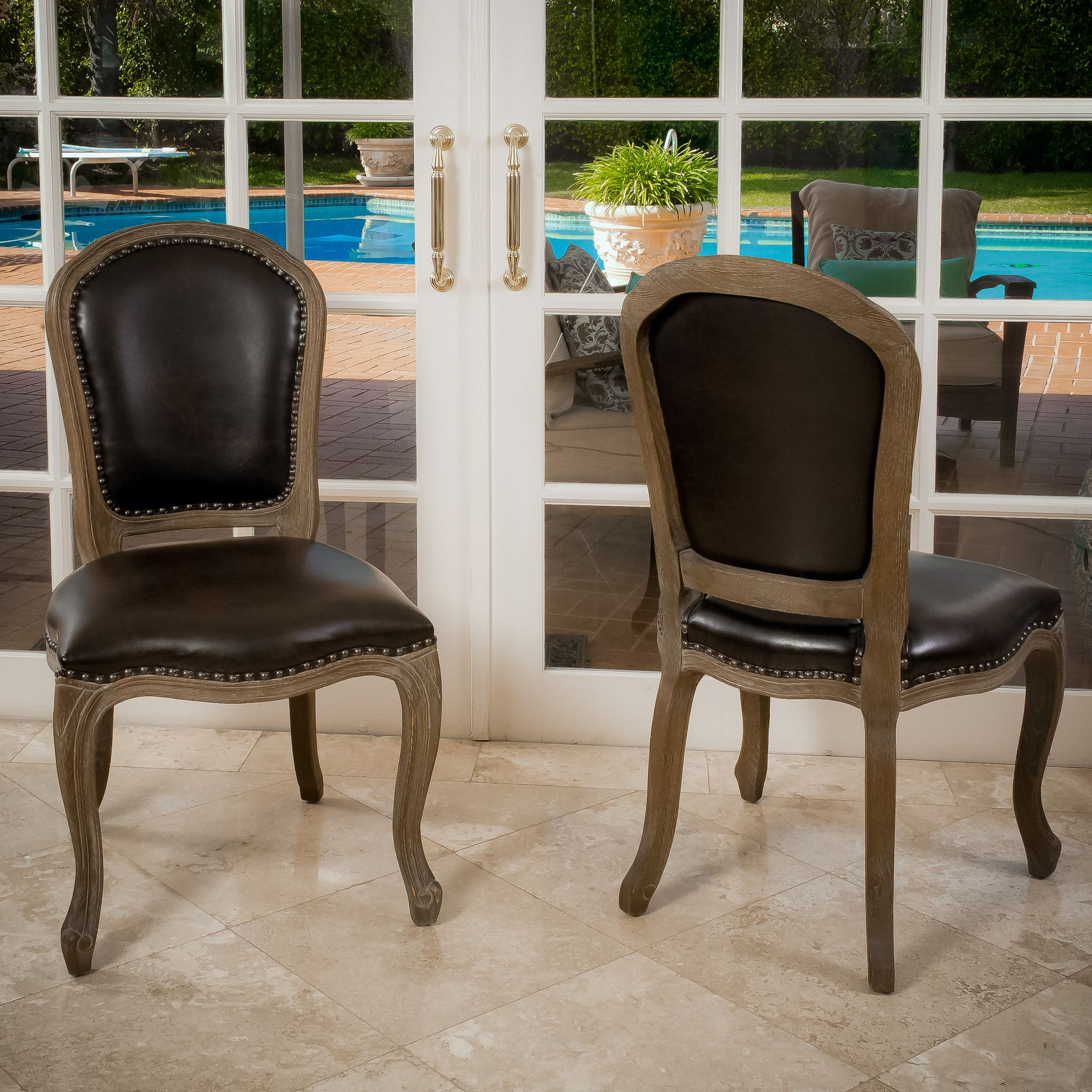 Queen Ann Leather Weathered Wood Dining Chairs Set Of 2