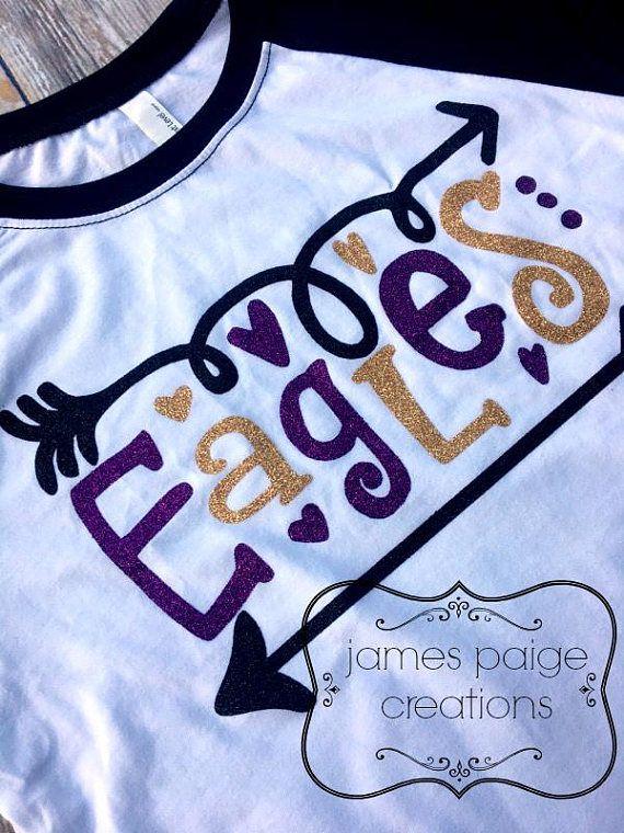 school spirit tshirt school mascot raglan tshirt eagles