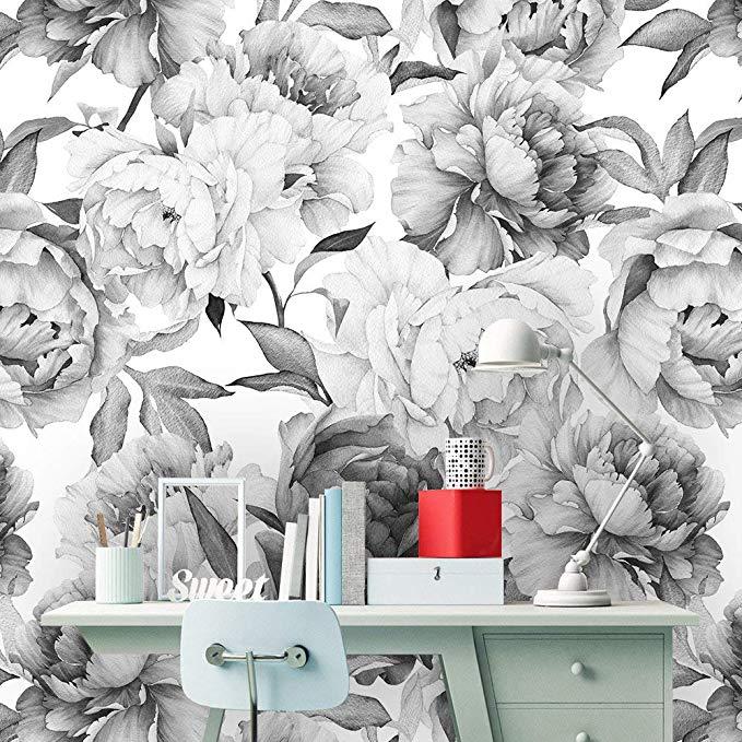 Removable Peel N Stick Wallpaper Self Adhesive Wall Mural Watercolor Floral Pattern Nursery De In 2020 Peel N Stick Wallpaper Wall Stickers Murals Floral Wallpaper