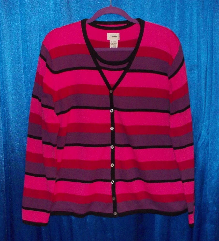 Striped cardigan 2-pc twinset sweater red black pink purple cotton ...