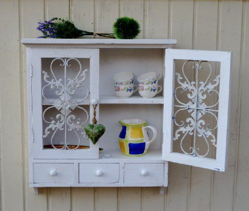 Wandschrank Hängeschrank Küchenschrank Shabby Chic Weiß 3