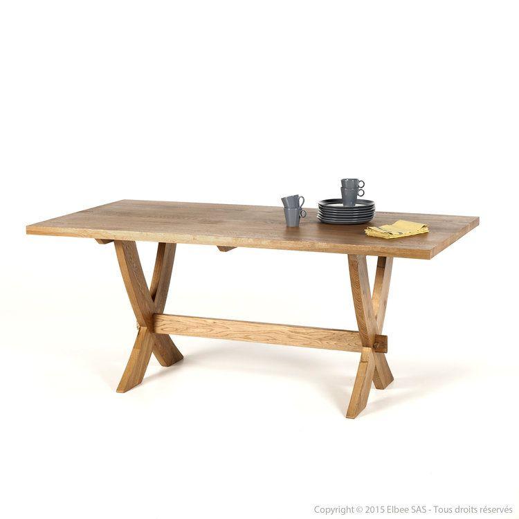 Table à manger en bois piètement croisé Longueur 180cm MAYA