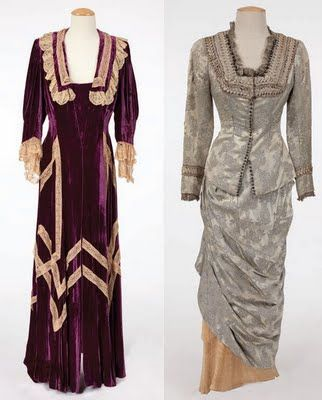 """Dresses worn in the 1942 movie Magnificent Ambersons: Dolores Costello """"Isabel Amberson"""" aubergine silk-velvet and lace robe and Agnes Moorehead """"Fanny Minafer silver satin floral pattern ball gown."""