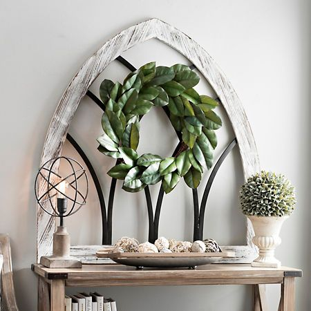 Weathered White Cathedral Arch Wall Plaque Kirklands Arched Wall Decor Modern Farmhouse Decor Kitchen Entryway Wall Decor