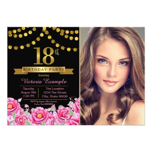 pink black gold modern 18th birthday