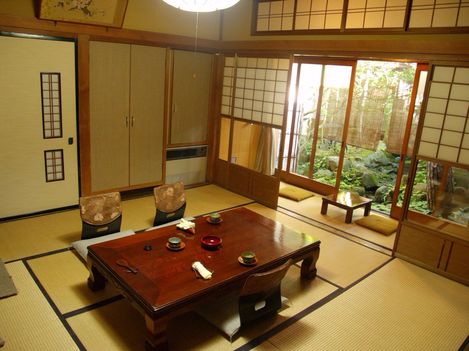 Comfortable Japanese Interor Design In Living Room With Brown Wooden