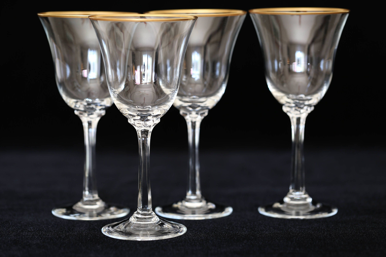 Vintage Wine Gles With Gold Trim Atcsagacity