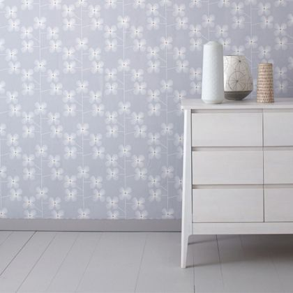 habitat geo floral printed wallpaper moth grey - Floral Wallpaper Bedroom Ideas
