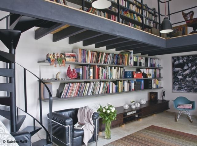 Bibliotheque avec tag re long re loft pinterest for Deco etagere murale salon