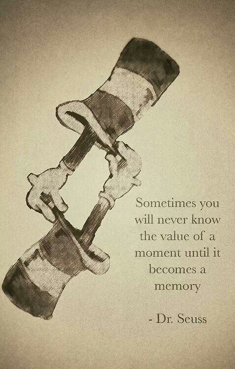 """You never know the value of a moment until it becomes a memory"" Dr. Seuss"