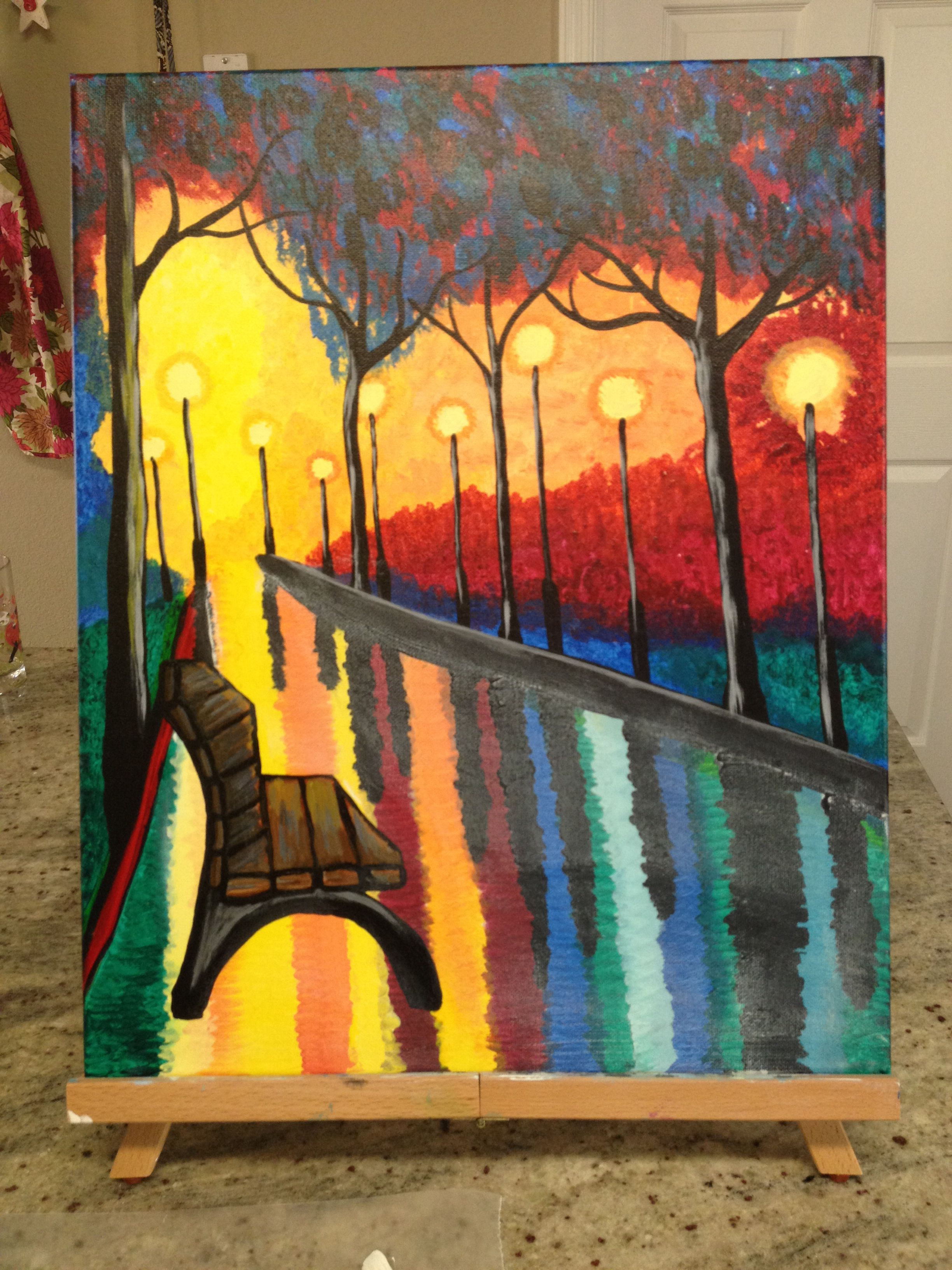 Evening in the park painting