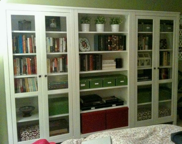 Bookcase Storage Idea Using Ikea Hemnes Glass Door Cabinet
