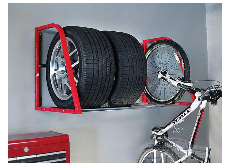 Red Wall Mounted Tire Rack in 2020 Tire storage rack